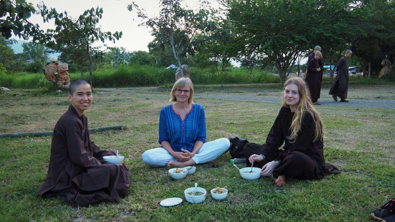 Picnic dinner at Plum Village Thailand