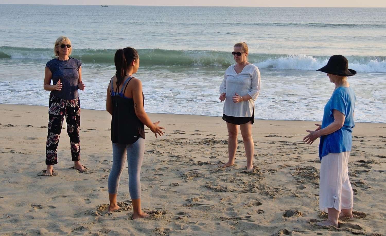Meditation Retreat Vietnam - Write Your Journey: regular Qi Gong class with Victoria Nhan at Cua Dai Beach in Hoi An